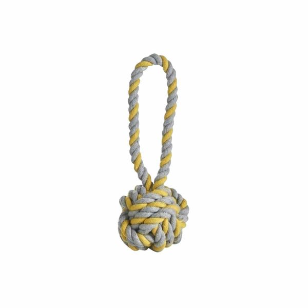 Puppy Rope Ball Tug Toy Grey/Yellow